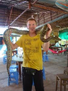 Op de foto met de slang